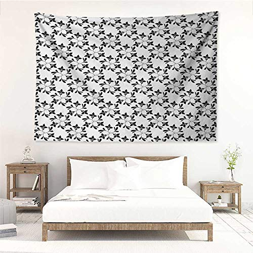 alisos Floral,Wall Decor Tapestry Monochrome Leaf Silhouettes Pattern Nature Inspiration Abstract Design Greenery 80W x 60L Inch Tapestry Wallpaper Home Decor Black White ()