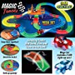 Magic Tracks Mega Set with Light up Glowing Red & Blue Car by HapiSimi, 360 Pieces, 18 Feet Twister Tracks, Glow in the Dark Cars