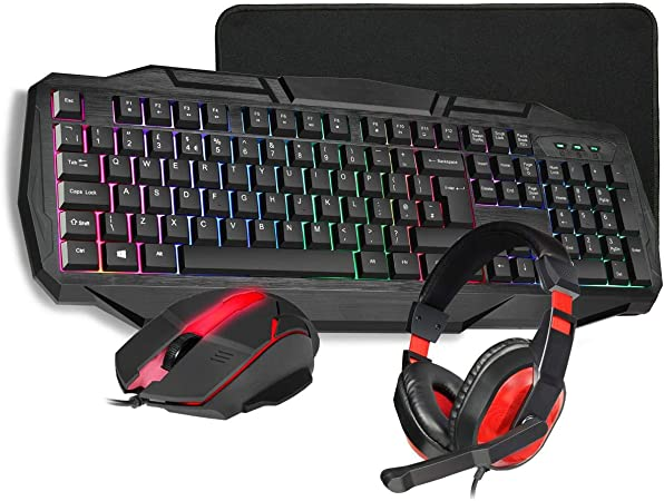 Black//Red RGB Gaming Mouse KB-BUILDER4IN1 Gaming Headset /& Gaming Mouse Pad Combo Set 4 In 1 Bundle for Windows /& Mac Osx CiT Builder RGB Gaming Keyboard