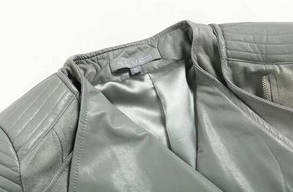 MOUTEN Womens Lapel Zipper Stylish Casual Motorcycle Faux Pu Jacket Coat