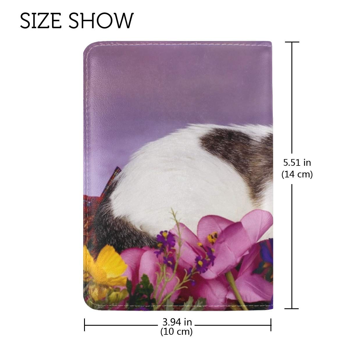 Cat Sit Flowers Spotted Leather Passport Holder Cover Case Travel One Pocket