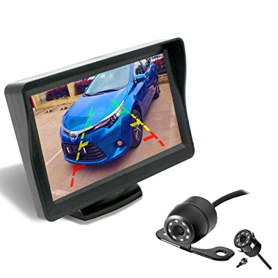 Backup Camera and Monitor Kit for Car/MPV/Pickup/Truck/SUV,Universal Wired Waterproof Rear-View 2-Installation Car Rear Backup Camera + 4.3 LCD Rear View Monitor: Electronics