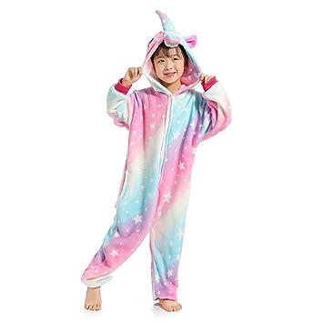 WhiFan Franela con Capucha Pijama Unicornio Animal Pijama Entero Adulto Niños Pijamas Unisexo Traje para Mujer