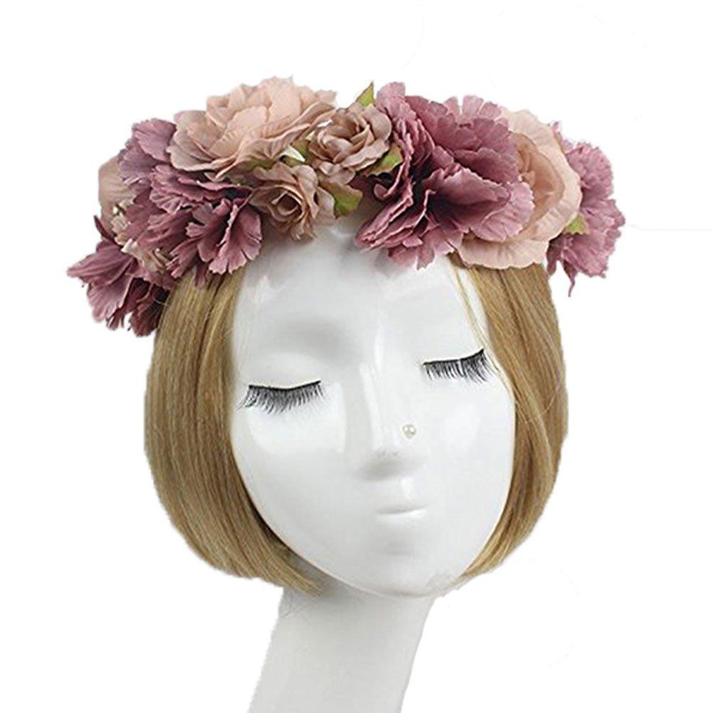 Halloween Königin Krone Haarreif Blumen Kranz Rosen Haarschmuck Stirnband DE006
