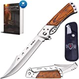 Grand Way Hunting Folding Knife with Rosewood Handle - Tactical EDC Pocket Knife - Foldable Long Blade Pocket Knife - Big Blade Folding Knife - Survival Book in a Set 4172 K