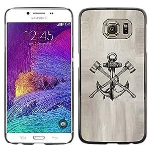 Tatuaje Axe Papel Ancla dibujo a lápiz de tinta- Metal de aluminio y de plástico duro Caja del teléfono - Negro - Samsung Galaxy S6