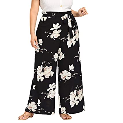 109452e28b3 Barlingrock Womens Plus Size Casual Wide Leg Pants Floral Printed Bow  Bandage Maxi Trousers