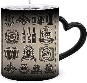 Beer IconDesign Set - -,Funnny Coffee Ceramics Mug Ceramic Color Changing Coffee Tea Mug Beer Garden 330ml