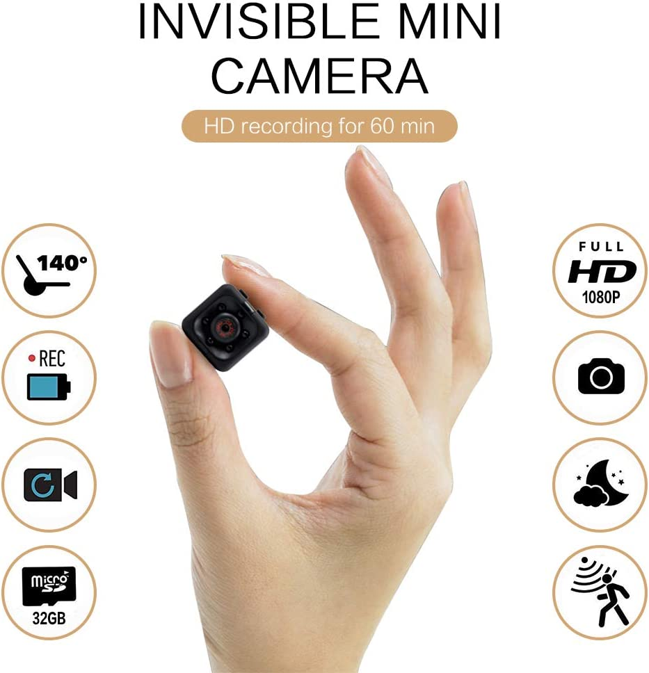 Mini Spy Camera 1080P Hidden Camera | Portable Small HD Nanny Cam with Night Vision and Motion Detection | Perfect Indoor Covert Security Camera for Home and Office | Hidden Spy Cam | Built-in Battery
