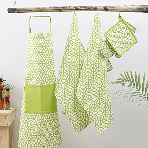Kitchen combo Set, 100% Cotton, Set of Apron + Oven Mitten + Potholder & Pair of Kitchen towel, Eco - Friendly & Safe, Green, The Hive in Lime Design for Kitchen by Plush Home