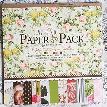 Envunt TM 12 pulgadas scrapbooking papel Pad Vintage Blooming Flor Scrapbook papel Pack: Amazon.es: Bricolaje y herramientas
