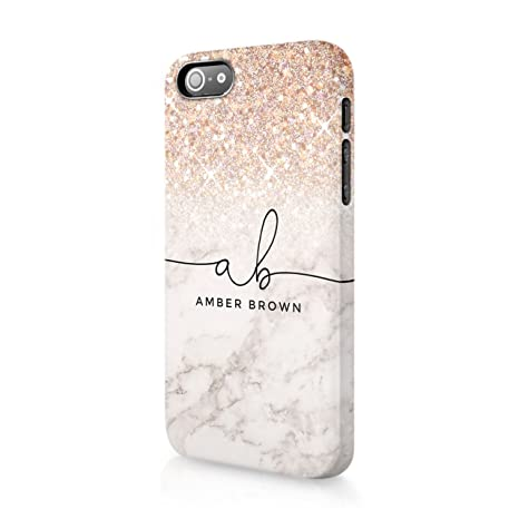 new product e3a8d 2bbcb Personalised iPhone 7 Plus & 8 Plus Tirita Hard Case Cover PRINTED GLITTER,  NOT REAL GLITTER Faded Glitter Marble Bling Sparkly Luxury Custom Initials  ...