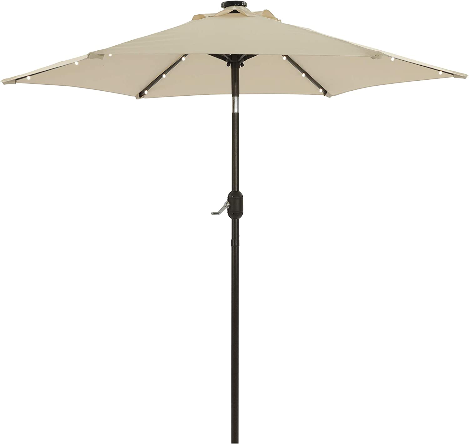 Aok Garden 7.5 ft Solar Patio Umbrella with 18 LED Lights Outdoor Table Market Umbrella with Push Button Tilt and Crank 6 Sturdy Aluminum Ribs for Deck, Lawn, Pool& Backyard, Beige