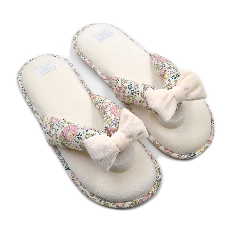 Millffy Memory Foam Cushioning Summer Spa Thong Slipper Japanese Floral Slippers (Women US 7/8 Or UK 5/6 Or EU 38/39, Beige)
