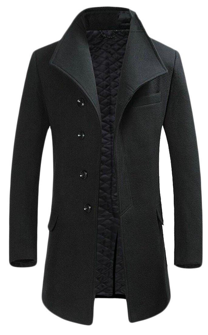 Jaycargogo Mens Wool-Blend Single-Breasted Winter Business Outwear Trench Coat Black XS