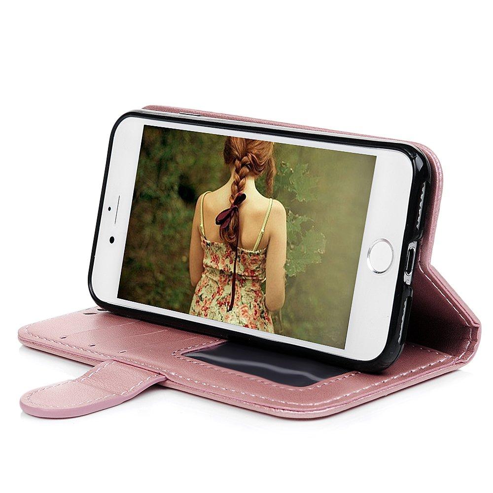 Anti Staub St/öpsel iPhone 8 H/ülle iPhone 7 Unicorn Leder Flip Wallet Cover Tasche Handyh/ülle TPU Innen Karteneinschub und Magnetverschlu/ß Einhorn in Rose Gold Eingabestifte