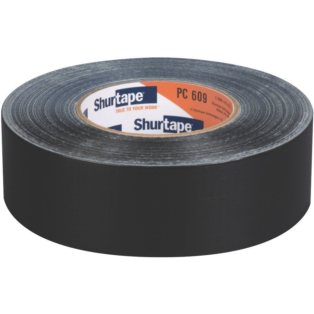 Shurtape PC609-48/55BLK PC-609 Industrial Grade Cloth Duct Tape: 2'' x 60 yd, black