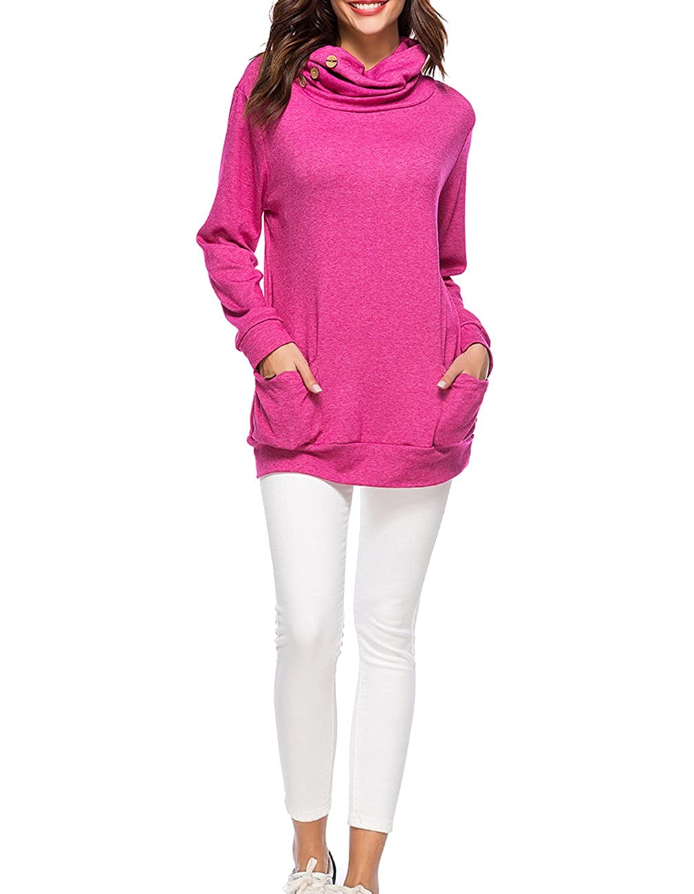 Defal Womens Long Sleeve Button Cowl Neck Tunic Top Casual Slim Sweatshirt with Pockets for Leggings