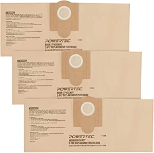 POWERTEC 75028 High Efficiency Filter Replacement Bags for Fein (913038K01) | Vacuum Bags for 9-11-20 & 9-11-55 – 3 Pack