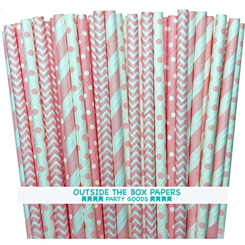 - Outside the Box Papers Light Pink Stripe, Polka Dot Chevron Paper Straws 7.75 Inches 100 Pack Light Pink, White