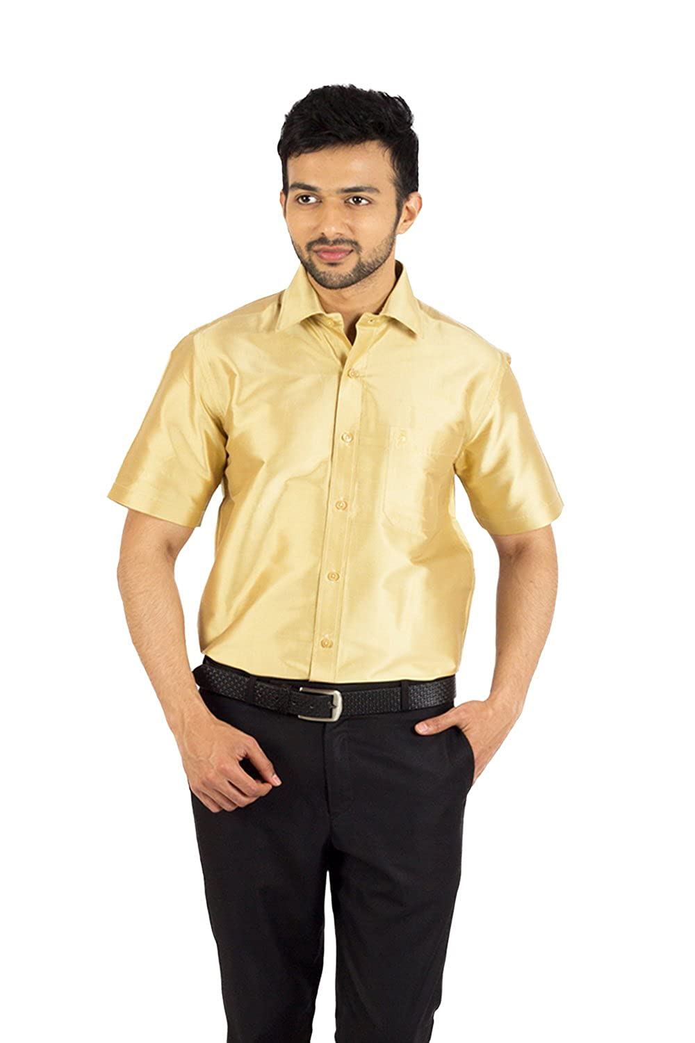 25d919ad55457 Khoday Williams Men s Silk Gold Shirt  Amazon.in  Clothing   Accessories