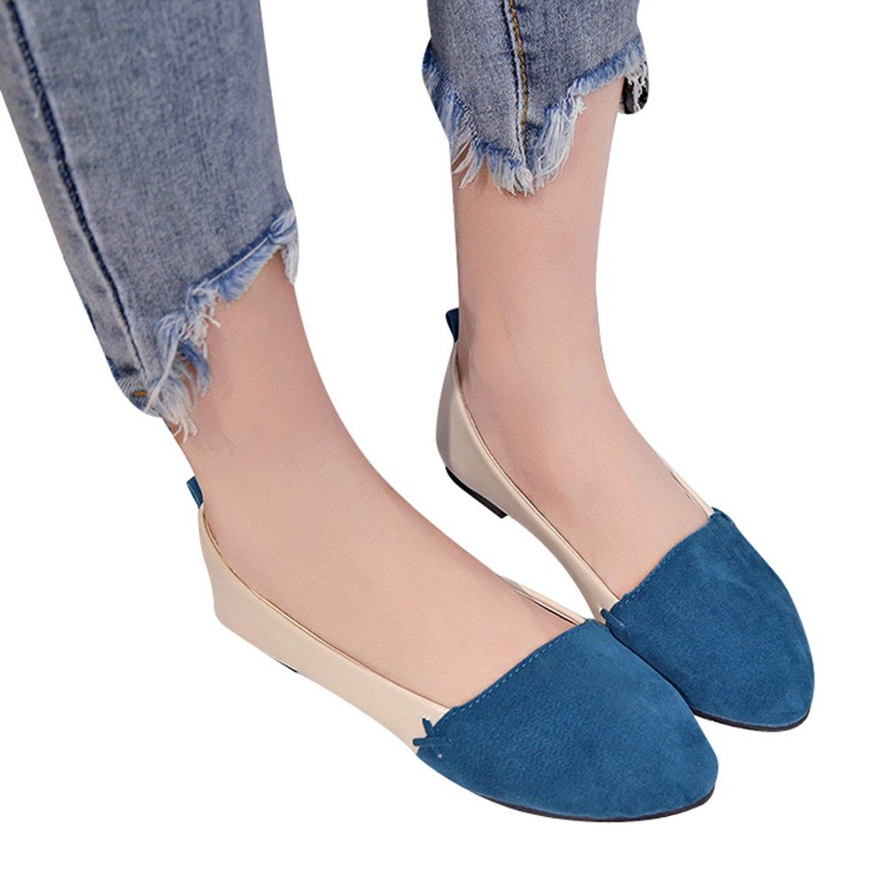 Shoes For Womens -Clearance Sale ,Farjing Mixed Colors Women Shoes Flat With Shallow Mouth Suede Pointed Toe Single Shoes (US:5.5,Blue)