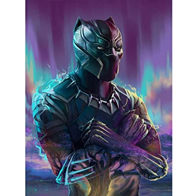 5D DIY Diamond Painting Kits for Kids & Adults, Full Drill Crystal Rhinestone Painting by Number Kits with The Theme of Marvel Black Panther from Wakanda(50x40cm): Arts, Crafts & Sewing
