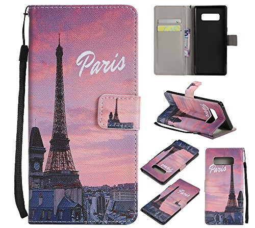 XYX Wallet Phone Case for Galaxy Note 8,[Paris Tower][Wrist Strap][Kickstand][Card Slots] PU Leather Wallet Phone Case for Samsung Galaxy Note 8 (Note Paris Case Samsung 2)