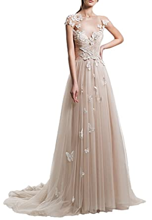 Ugly Cap Sleeves Chiffon Wedding Dresses For Women Champagne