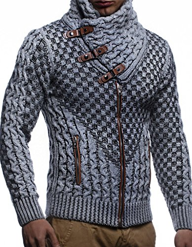 Leif Nelson Men's Knitted Jacket Turtleneck Cardigan Winter Pullover Hoodies Casual Sweaters LN5340; Size M, Grey-Black ()