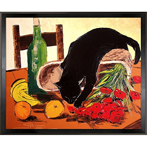 overstockArt Return from Market with Black Cat (With Fruit and Poppies) by De Jiel with Studio Black Wood Angle Frame