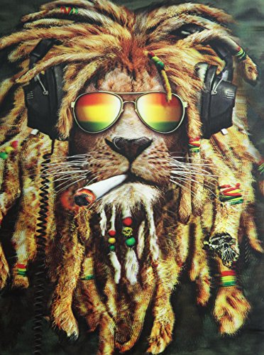 RASTA LION 3D UNFRAMED Holographic Wall Art-Lenticular Technology Causes The Artwork To Have Depth and Move-HOLOGRAM Style Images-HOLOGRAPHIC Optical Illusions By THOSE FLIPPING PICTURES (Best 3d Images Gallery)