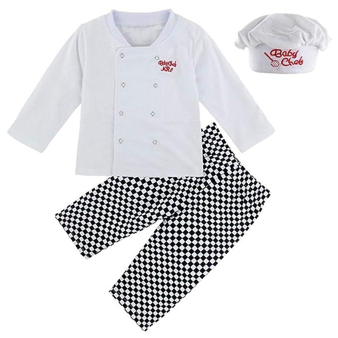MOMBEBE COSLAND Conjunto de Camiseta Disfraz Cocinero para Bebé Niños Gorro Manga Larga