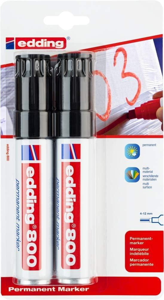Colore nero; Tratto 2-7mm edding 500 Marcatore permanente punta a scalpello; Blister 3 pz