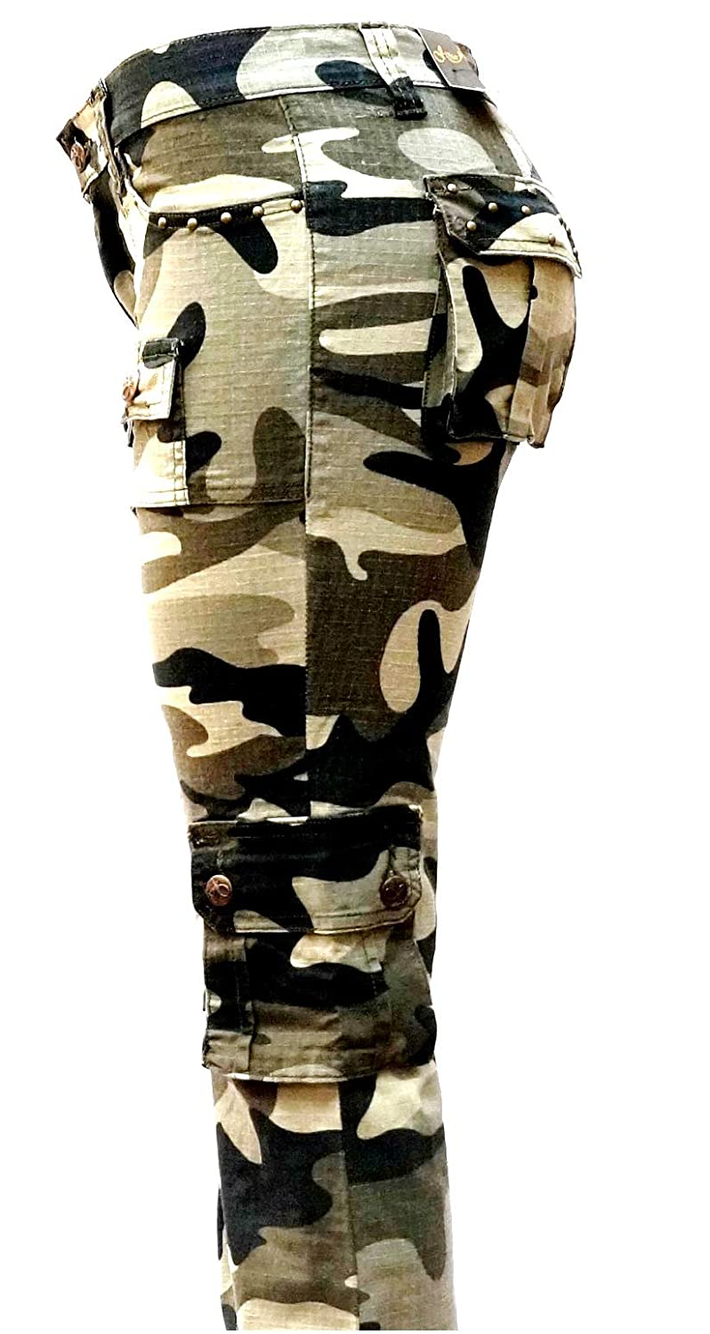 207c254a66e Amazon.com  Womens Cargo Utility Work Hiking Army Military Multi Pockets  Combat Casual PantS  Clothing