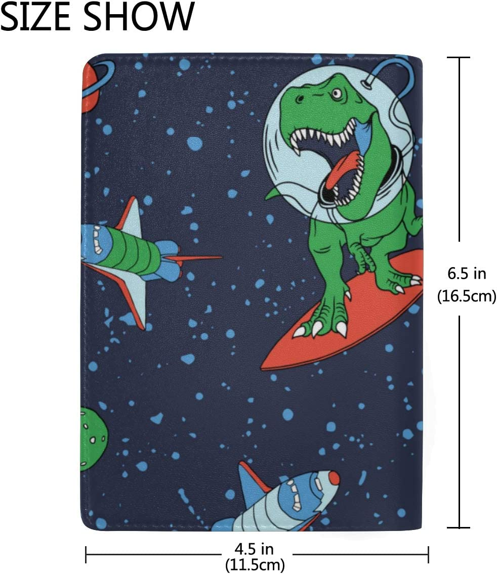 Funny Cartoon Dinosaur Astronauts Blocking Print Passport Holder Cover Case Travel Luggage Passport Wallet Card Holder Made With Leather For Men Women Kids Family