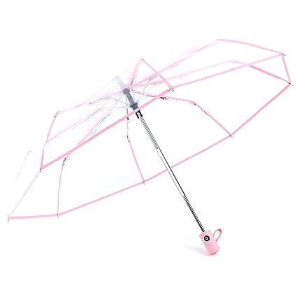 SODIAL Paraguas Transparente Paraguas automatico para Lluviaautomatico Compacto Plegable Estilo a Prueba de Viento Paraguas Transparente