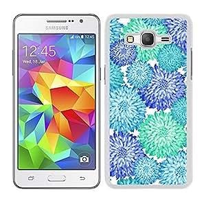 Funda carcasa para Samsung Galaxy Grand Prime diseño estampado flores azul turquesa y verde agua borde blanco