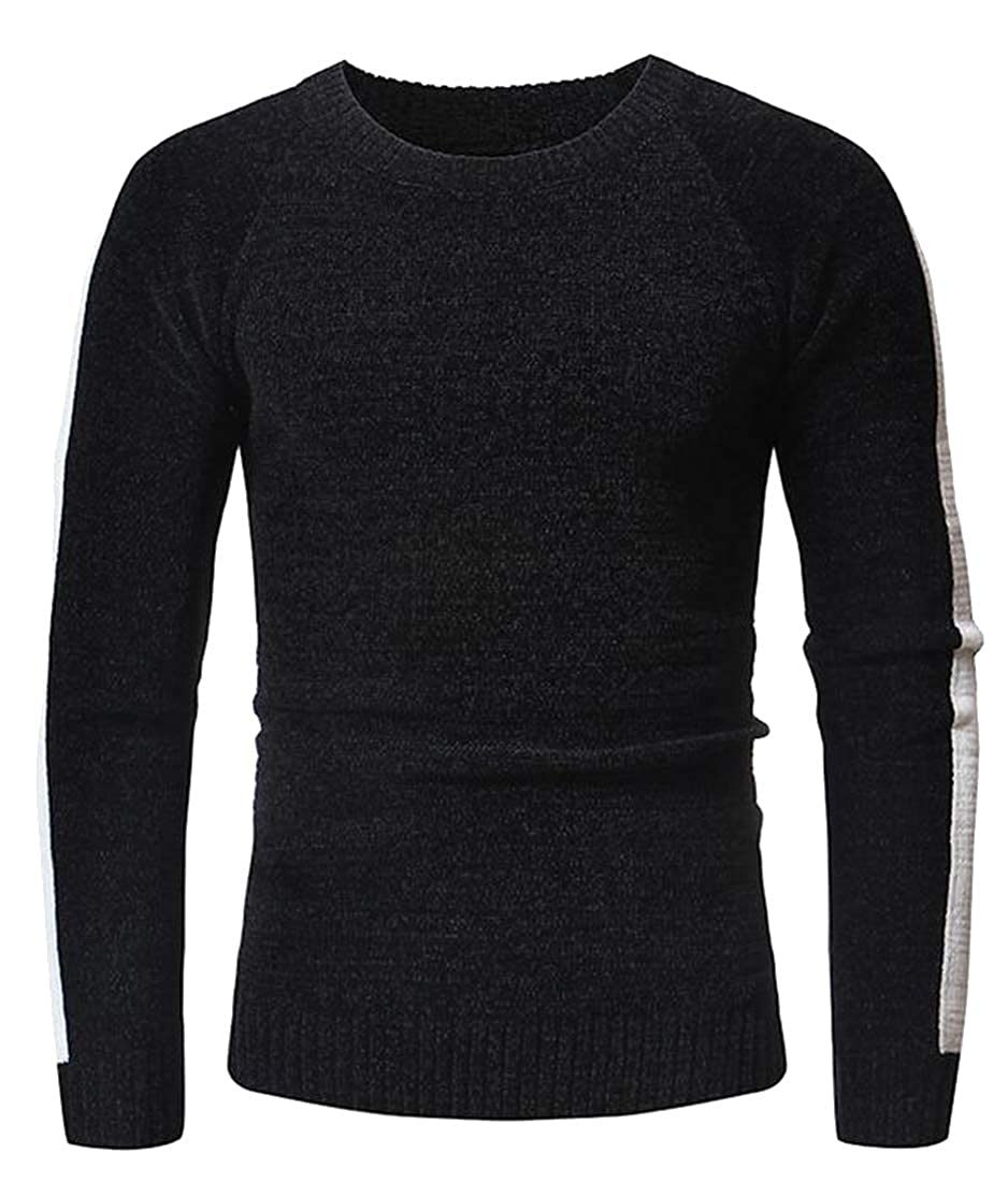 Fubotevic Mens Knit Slim Crew Neck Fall Winter Contrast Pullover Sweater Jumper