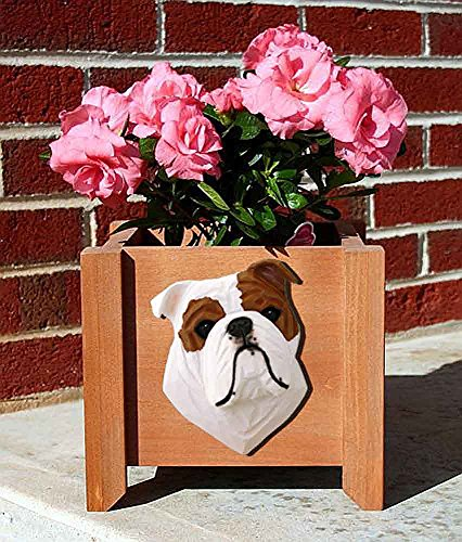Bulldog Planter Flower Pot Red