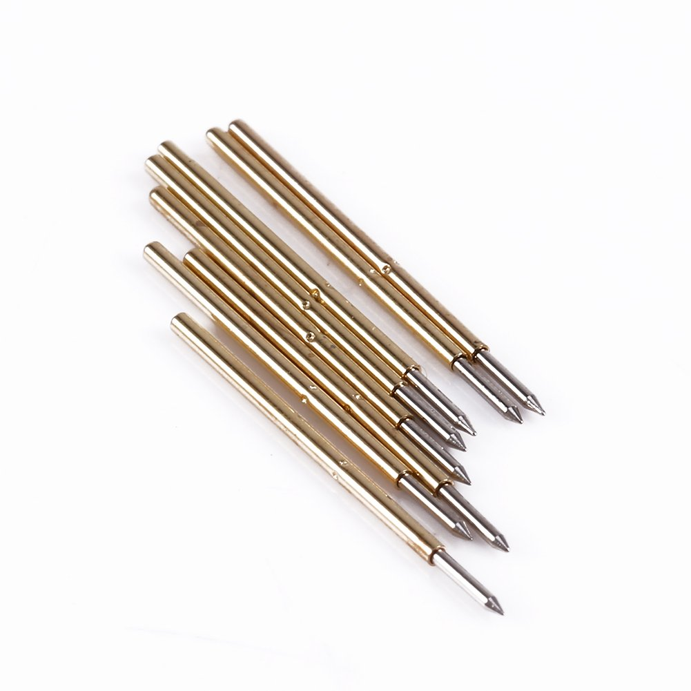 and Pads Edge connectors Spring Test Probes 100x P50-J1//P50-B1//P75-B1//P75-E2//P100-E2 Spring Test Probe Round Pogo Pin Tools for Testing PCB Gold Fingers