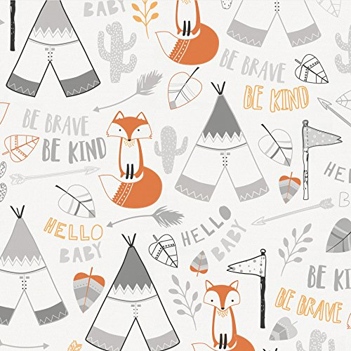 Carousel Designs Brave Fox Fabric by the Yard - Organic 100% Cotton