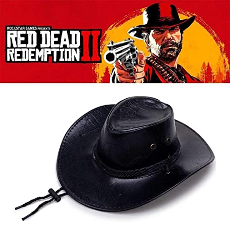 387e428e080fe Amazon.com   Grinders Poker Shop Game Red Dead Redemption 2 Cowboy Hat  Cosplay Costume Prop Hats Leather Unisex   Sports   Outdoors