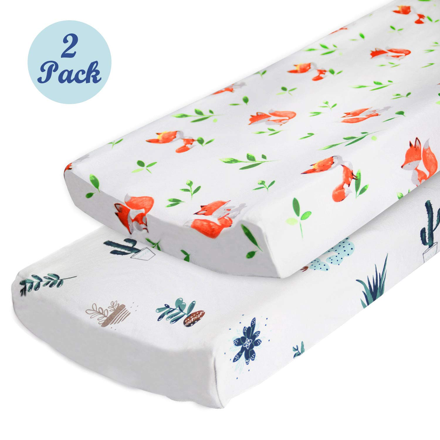 Changing Pad Covers or Cradle Sheets for Baby Boys Girls, 2-Pack by Cherub