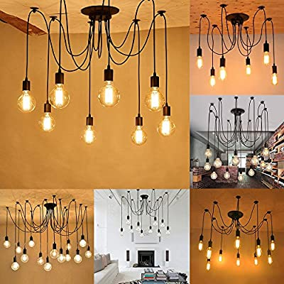Vintage Industrial Hanging Chandelier Lighting Edison Light Bulb Lamp 110V/60W/E26 Spider Ceiling Pendant Bulbs 6 8 10 12 14 Heads for Dining Room Coffee Shop Theme Restaurant Hall