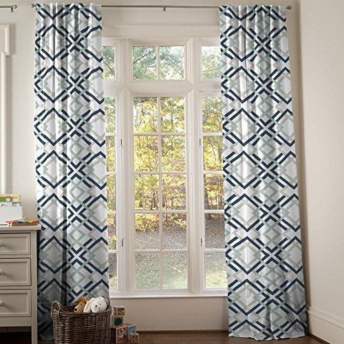 Carousel Designs Navy and Gray Geometric Drape Panel 96-Inch Length Standard Lining 42-Inch Width by Carousel Designs