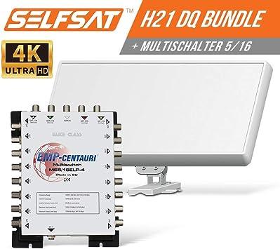 Selfsat H21DQ 16 - Antena plana para satélite y multiconmutador 5/16 Full HD 4K