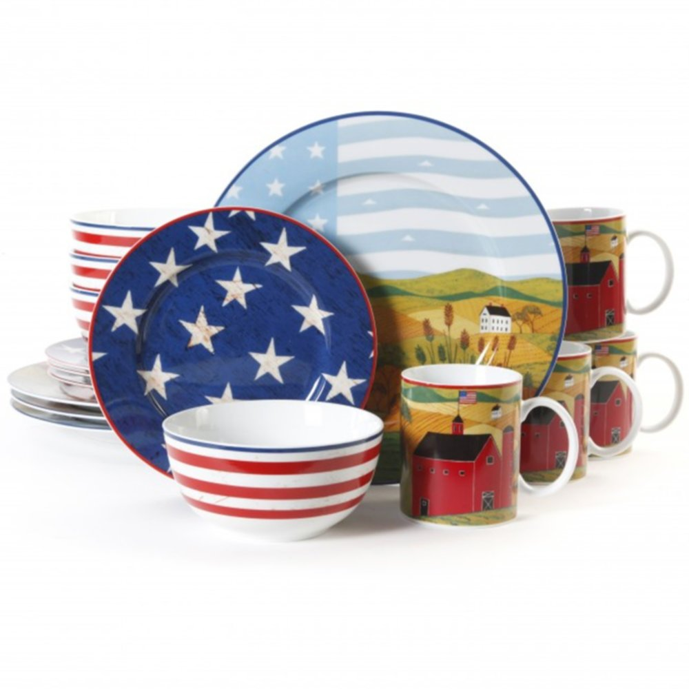Gibson 91760.16 Dinnerware Set America The Beautiful Patriotic 16 pc Home & Garden by Gibson