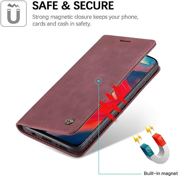 Xinyunew Cases Kompatibel Mit Samsung Galaxy A21s Hüllen Premium Dünne Ledertasche Handyhülle Mit Kartenfach Ständer Flip Klapphüllen For Cases Samsung Galaxy A21s Rotwein Küche Haushalt