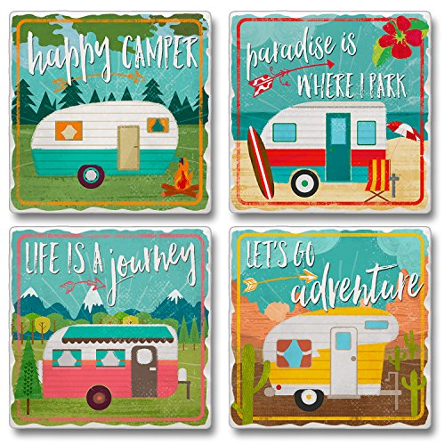 Happy Campers Stone Coasters made our CampingForFoodies hand-selected list of 100+ Camping Stocking Stuffers For RV And Tent Campers!